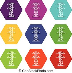 High voltage tower icon set color hexahedron
