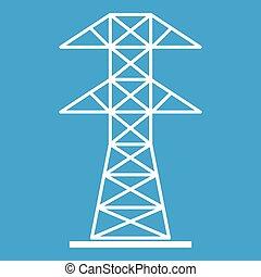 High voltage tower icon white