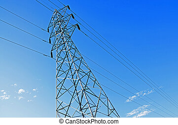 High-voltage tower in sky backgroun