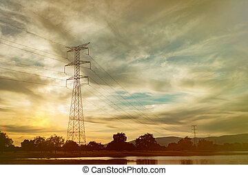 High-voltage tower in the field