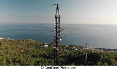 High-voltage tower sky aerial - High-voltage tower sky...