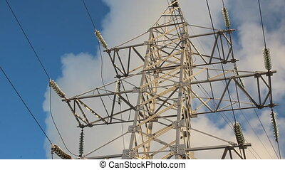 high voltage towers winter