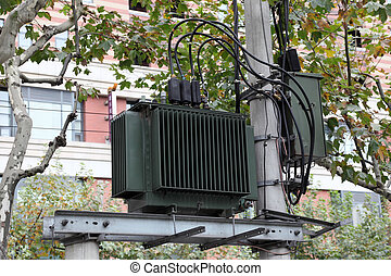 High voltage transformer in the city