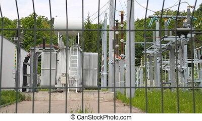 high-voltage transformer substation