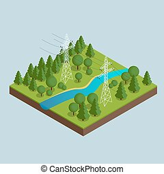 High voltage transmission lines and power pylons. High voltage towers. Electricity pylons. Vector illustration of industrial landscape. Flat 3d vector isometric illustration