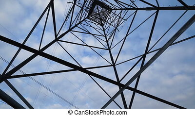 High voltage transmission tower against the sky tilt up. Low...