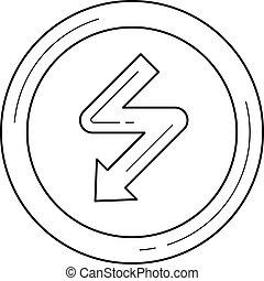High voltage vector line icon.