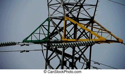 High-voltage wire tower in urban ci