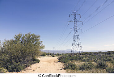 High Voltage wires over the Desert