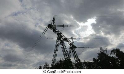 High-voltage wires, power station.