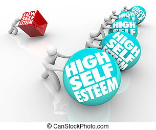 High Vs Low Self Esteem Losing Race of Confidence Attitude -...