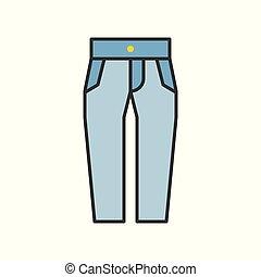 high waist jeans pants, filled color outline editable stroke