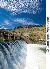 High water flow over diversion Dam on Boise River