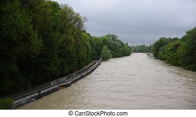 Wide view of Munich in Germany during the high tide in spring at Isar river