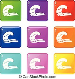 High wave icons set 9 color collection