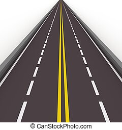 high way 3d illustration - turned left asphalted road...