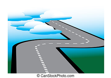 A road leads to the clouds in an abstract surreal vector illustration.