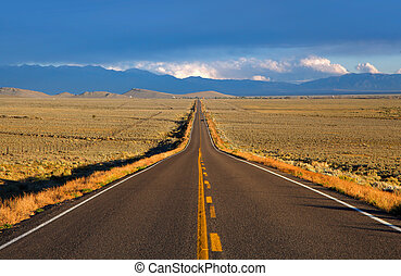 A straight road in the Colorado Priaries