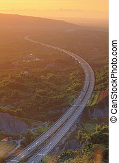 high way in the sunset, shot in Taiwan, asia