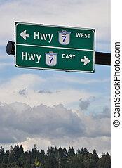 High way road sign
