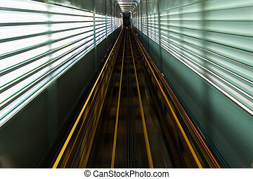 High way up for evevator passing passenger to top of ...