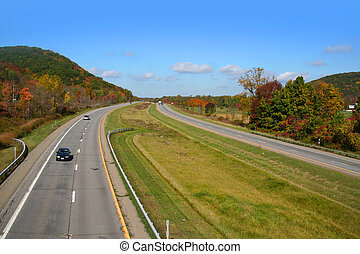 Wide angle shot of interstate free way