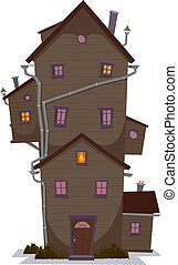 Illustration of a cartoon high wooden house, castle or manor, with lots of windows and outbuilding, at night