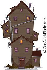 High Wood House - Illustration of a cartoon high wooden...