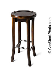 High wooden bar stool isolated on white