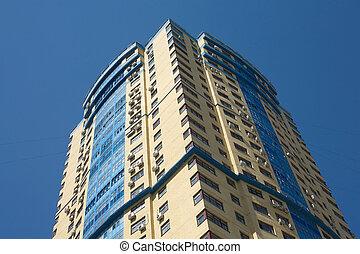 High yellow modern building closeup