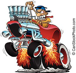 Highboy Hot Rod Race Car Cartoon Vector Illustration