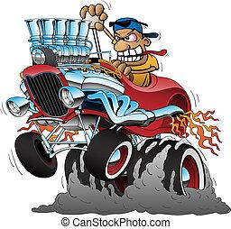 highboy, rennauto, stange, abbildung, heiß, vektor, karikatur