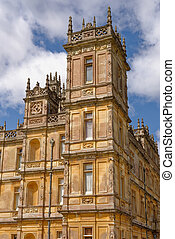 Highclere Castle, home of the Earl and Countess of Carnarvon, and film location of the TV series Downton Abbey, in Berkshire, United Kingdom. Poto taken on 28th of July, 2019