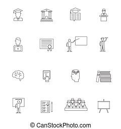 Higher Education Icon Outline Set - Higher education student...