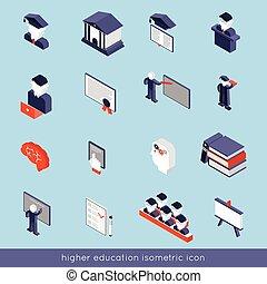Higher Education Isometric Set - Higher education isometric...