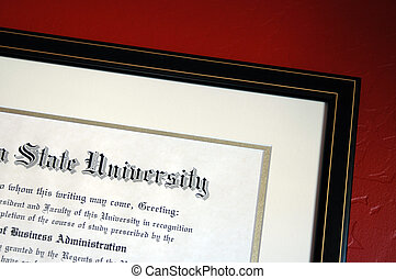 University degree framed and hanging on textured red wall.