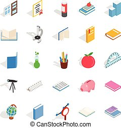 Higher educational institution icons set, isometric style