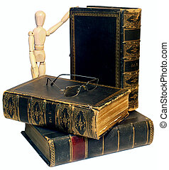 Higher Learning - Antique Books with glasses and a manequin...