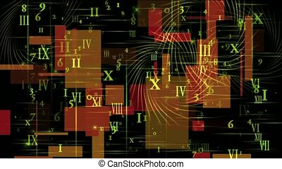 higher mathematics and calculus, number and alphabet matrix in square wire background, finance market display.