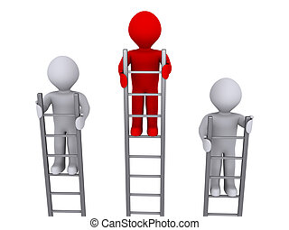 Higher on top of ladder - Three 3d persons on ladders and...