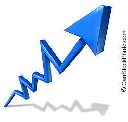 Higher profits - Profits and business success graph with a...