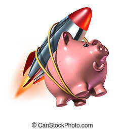 Higher Savings account piggy bank with a rocket strapped on...