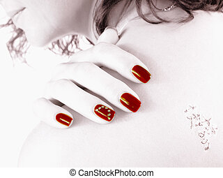 HighKey Nails - red finger nails at the back with tattoo -...