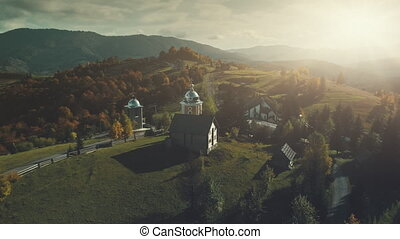 Highland church mountain village scenery aerial view -...