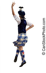 Highland Dancer isolated with clipping path