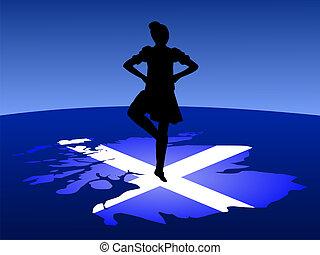 highland dancer balancing on map of Scotland Illustration