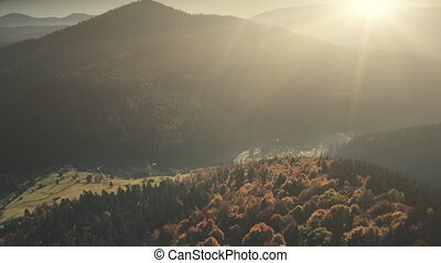 Highland foggy valley sunrise sight aerial view - Highland...