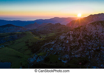 Highland landscape at sunset, Picos de Europa