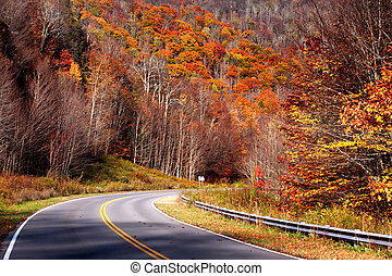 Highland scenic high way in West Virginia in autumn time