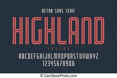 Highland vector condensed inline retro typeface, uppercase...